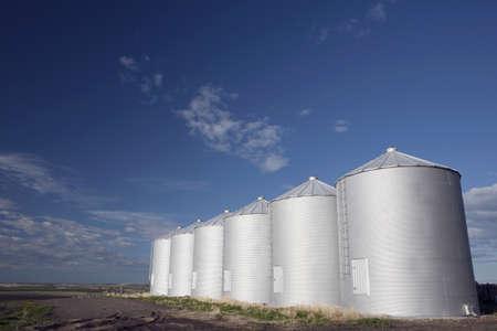 Row of metal silos