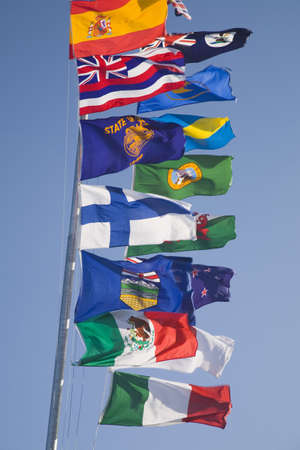 international flags on a flagpole