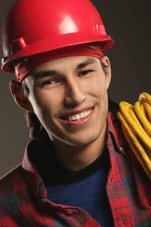 Aboriginal Workman wearing a hard hat