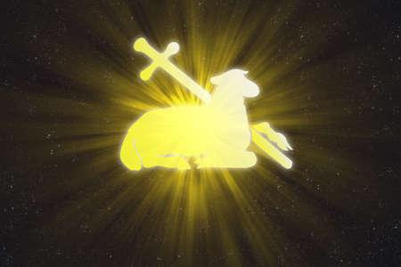 Illuminated lamb and cross in the sky