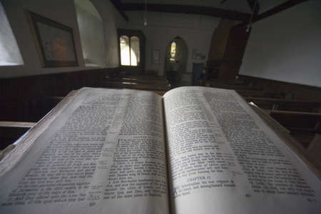 Old bible in church,North Yorkshire,England,Europe
