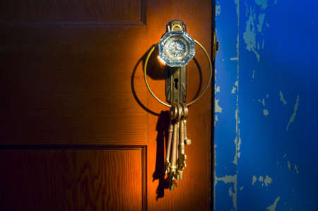 Antique glass doorknob with keys