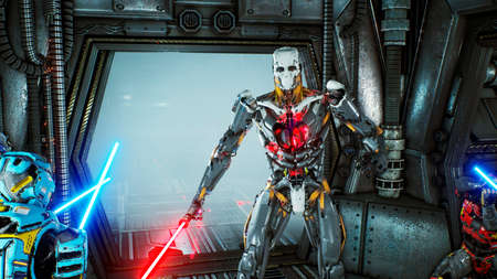Foto de Astronauts with laser swords hid in an ambush on an alien robot invader on his spaceship. Super realistic sci-fi concept. - Imagen libre de derechos