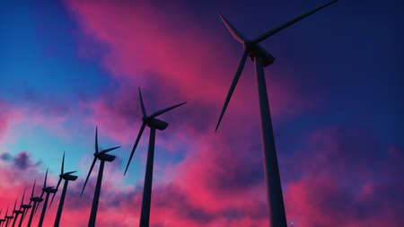 Photo for Windmill farm at sunset. Silhouette of a Windmill against a red sky. 3D Rendering - Royalty Free Image