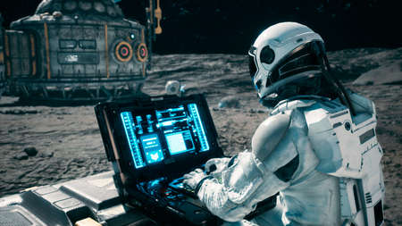 Photo for An astronaut works on his laptop at a space base on one of the new planets. 3D Rendering. - Royalty Free Image