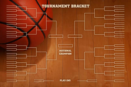 Basketball tournament bracket over image of ball with spot lighting on wood gym floor