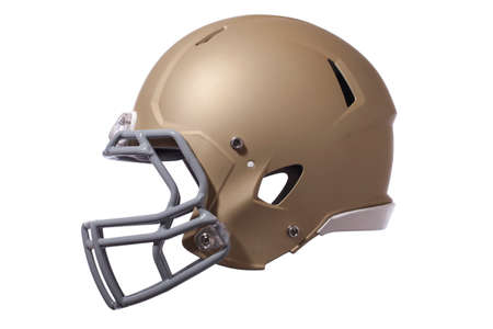 Photo pour Modern football helmet in gold isolated on a white background - image libre de droit