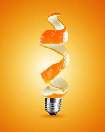 light bulb made from orange peel, light bulb conceptual Image.