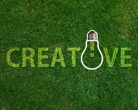 Creative word with lightbulb on grassland.
