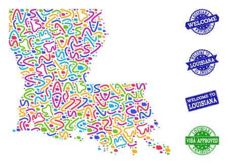 Welcome composition of mosaic map of Louisiana State and scratched seals. Vector greeting seals with unclean rubber texture. Welcome flat design for guest appreciation templates.