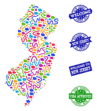 Welcome composition of mosaic map of New Jersey State and