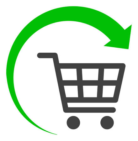 Photo pour Repeat shopping cart icon on a white background. Isolated repeat shopping cart symbol with flat style. - image libre de droit