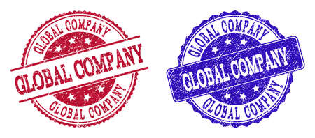 Grunge GLOBAL COMPANY seal stamps in blue and red colors. Stamps have draft style. Vector rubber imitation with Global Company text. Illustration design includes circle, rounded rectangle, rosette,