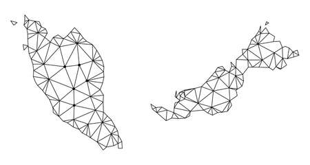 Illustration pour Polygonal mesh map of Malaysia in black color. Abstract mesh lines, triangles and points with map of Malaysia. Wire frame 2D polygonal line network in vector format. - image libre de droit