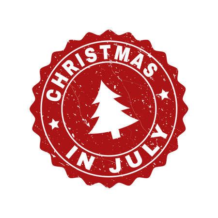 Christmas In July Royalty Free Images.Grunge Round Christmas In July Stamp Seal With Fir Tree