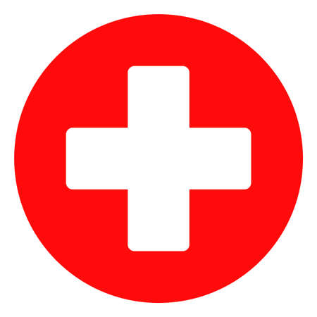 Illustration pour Medical cross vector icon symbol. Flat pictogram is isolated on a white background. Medical cross pictogram designed with simple style. - image libre de droit