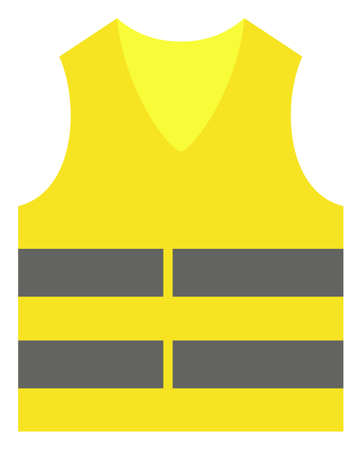 Illustration pour Yellow vest vector icon symbol. Flat pictogram is isolated on a white background. Yellow vest pictogram designed with simple style. - image libre de droit