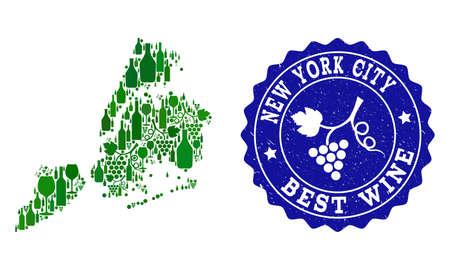 Ilustración de Vector collage of wine map of New York City and best grape wine grunge stamp. Map of New York City collage designed with bottles and grape berries bunches. - Imagen libre de derechos