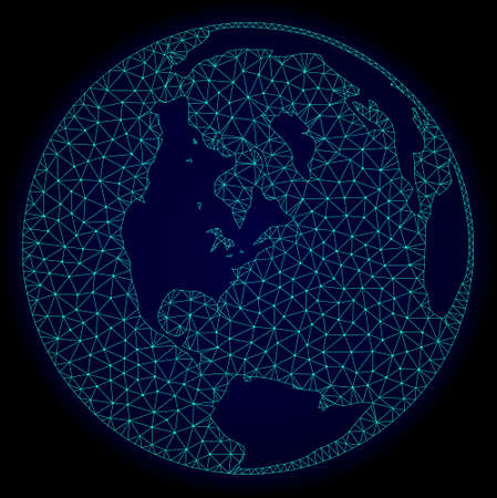Polygonal vector mesh map of global ocean. Connected lines, triangles and points forms abstract map of global ocean. Wire frame 2D polygonal line network on a dark blue background.