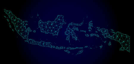 Ilustración de Polygonal mesh map of Indonesia. Abstract mesh lines, triangles and points on dark background with map of Indonesia. Wire frame 2D polygonal line network in vector format on a dark blue background. - Imagen libre de derechos