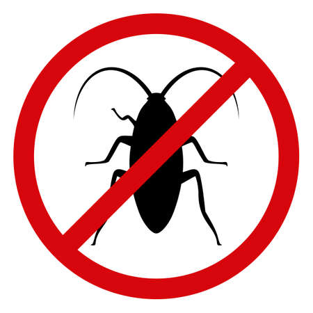Forbidden cockroach icon on a white background. Isolated forbidden cockroach symbol with flat style.