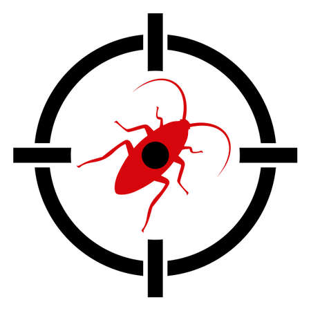 Target cockroach icon on a white background. Isolated target cockroach symbol with flat style.