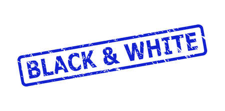 Blue BLACK & WHITE stamp seal on a white background. Flat vector scratched seal stamp with BLACK & WHITE caption is inside rounded rectangle frame. Watermark with scratched surface.