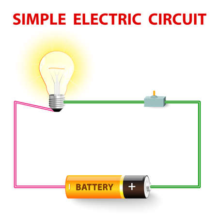 A simple electric circuit. Electrical network. switch, light bulb, wire and battery. Vector illustration