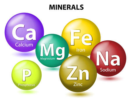 Illustration pour Essential chemical minerals or Dietary element. mineral nutrients. minerals and trace minerals are inorganic elements. Human body needs them to grow and stay healthy. Vector Illustration - image libre de droit