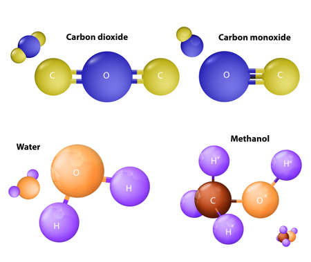 molecules Carbon dioxide and  Carbon monoxide. Water molecule and Methanol molecule. Chemical substance  formula. Atoms connected.