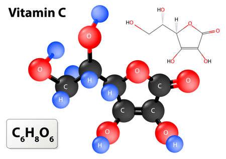 Illustration pour vitamin c. model of vitamin C molecule. Vitamin C molecular structure - image libre de droit