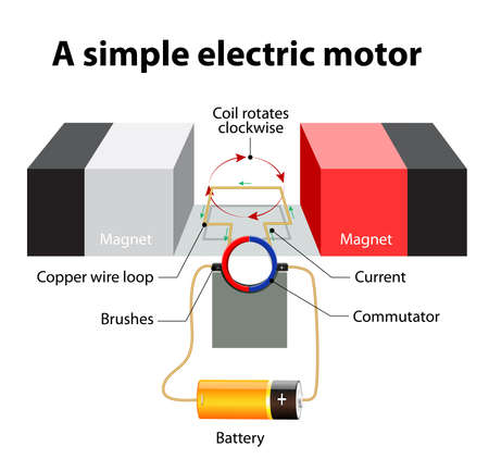 Illustration pour simple Electric motor. A rectangular loop of wire is sitting inside a magnetic field. commutator - a circular metal ring that is split into two halves. The ends of the wire loop turn around inside the commutator. One side of the commutator is connected to - image libre de droit