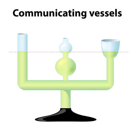 Communicating vessels. 3 inter-communicating glass tubes of different diameters and shapes. demonstration tool for the observation of fluid dynamics. when the liquid settles, it balances out to the same level in all of the containers