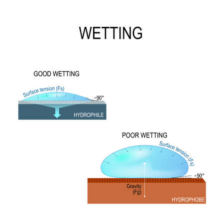 Wetting and Surface tension for water. hydrophilic and hydrophobic surface. Poor wetting and good wetting of the surface.