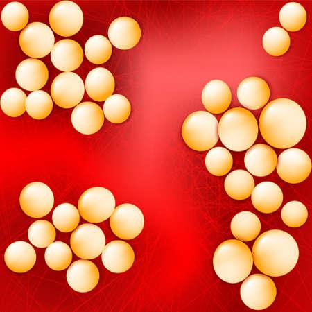 Illustration pour Staphylococcus aureus on a red background. Vector illustration for your design, educational,  biology, scientific, and medical use. - image libre de droit