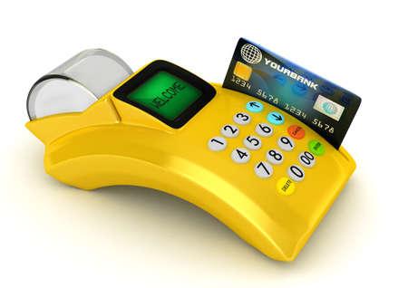 3D Yellow POS-terminal with credit card