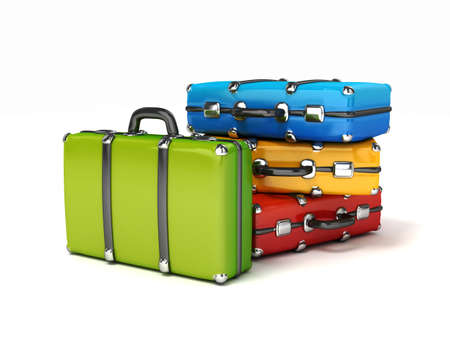 3d colorful suitcases isrolated