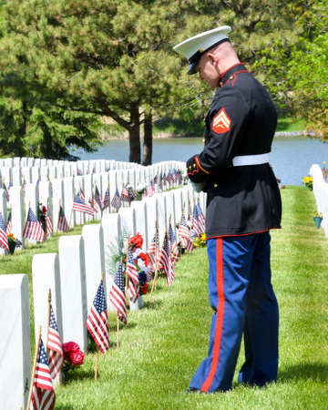 Marine in Full Uniform Paying Tribute at the Graves of his Fellow Soldiers on Memorial Day