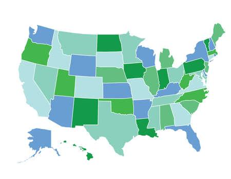 US map in green tones