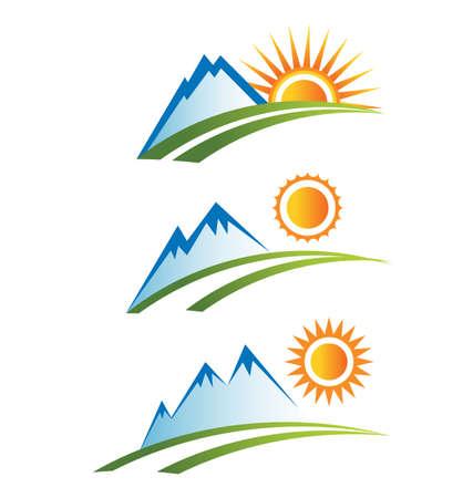 Illustration pour Mountain with sun icons - image libre de droit