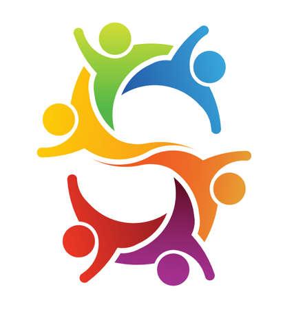 Illustration pour Teamwork letter S - image libre de droit