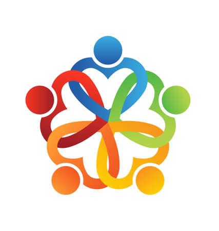 Illustration pour Team Interlaced hearts 5  - image libre de droit