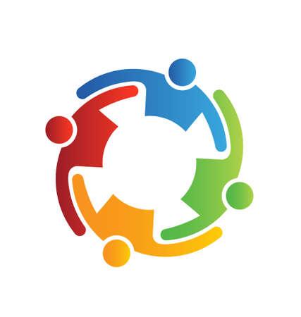 Illustration pour Vector Teamwork Embrace 4 - image libre de droit