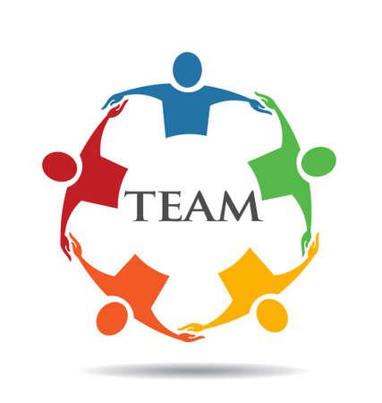Ilustración de Teamwork Human Chain 5 Group of People - Imagen libre de derechos
