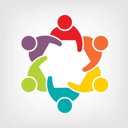 Illustration of Teamwork Meeting 6  Group of People