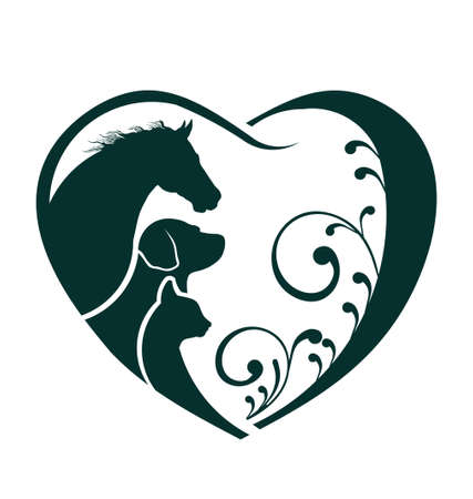 Vector Horse, Dog and Cat love heart