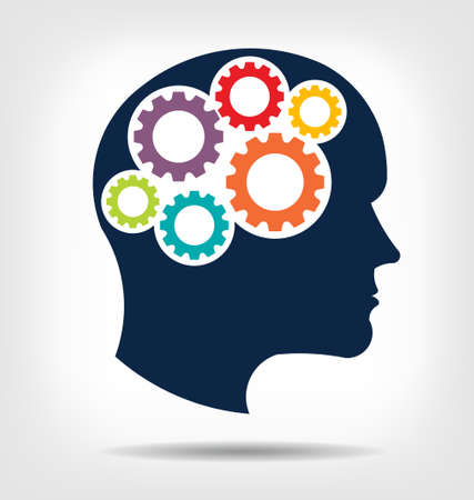 Head gears  Abstraction of thinking mind  This icon serves as idea of teamwork mind, working think, memory training, brain system, psychology, knowledge