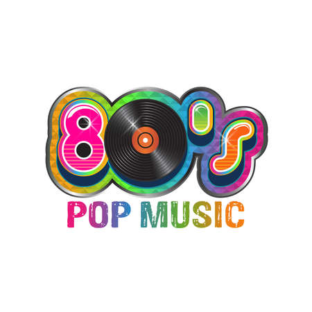 80s pop music vinyl disc : Royalty-free vector graphics