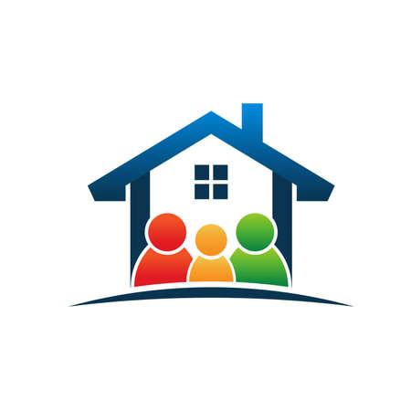 Illustration pour Family in house - image libre de droit