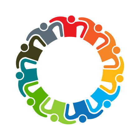 People teamwork logo. Group of eleven persons